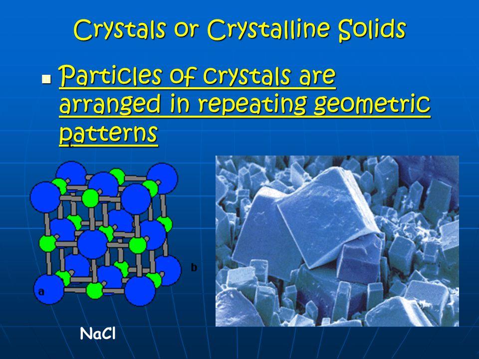 Types of Solids Molecular solids Molecular solids Metallic solids Metallic solids Ionic solids Ionic solids Covalent network solids (diamonds) Covalen
