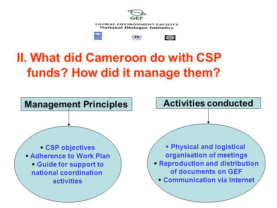 II. What did Cameroon do with CSP funds. How did it manage them.