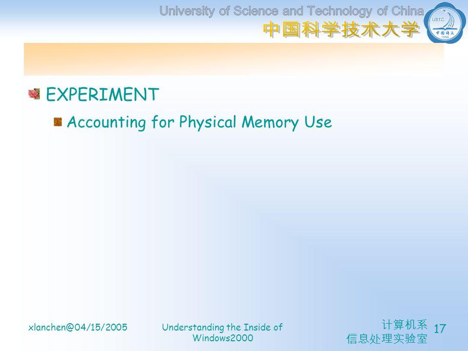 计算机系 信息处理实验室 xlanchen@04/15/2005Understanding the Inside of Windows2000 17 EXPERIMENT Accounting for Physical Memory Use