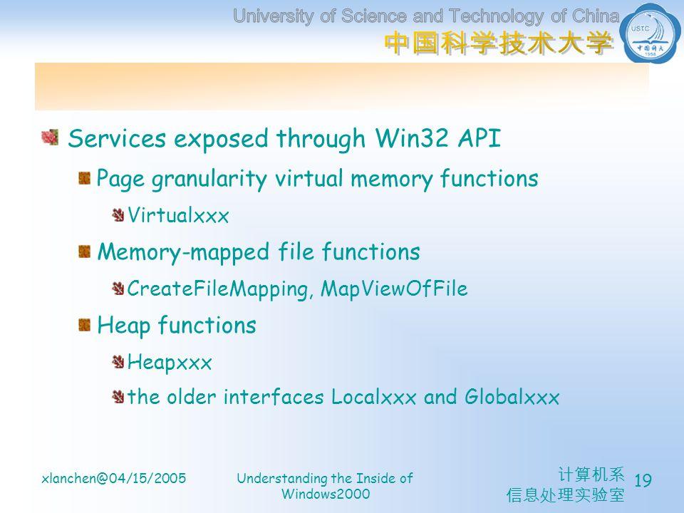 计算机系 信息处理实验室 xlanchen@04/15/2005Understanding the Inside of Windows2000 19 Services exposed through Win32 API Page granularity virtual memory functions Virtualxxx Memory-mapped file functions CreateFileMapping, MapViewOfFile Heap functions Heapxxx the older interfaces Localxxx and Globalxxx