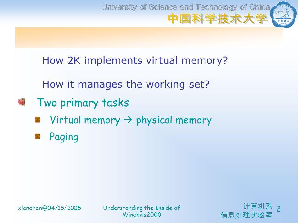 计算机系 信息处理实验室 xlanchen@04/15/2005Understanding the Inside of Windows2000 2 Two primary tasks Virtual memory  physical memory Paging How 2K implements virtual memory.