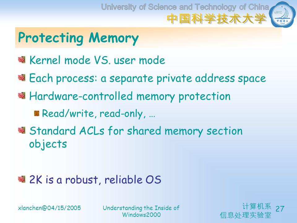 计算机系 信息处理实验室 xlanchen@04/15/2005Understanding the Inside of Windows2000 27 Protecting Memory Kernel mode VS.