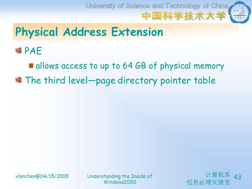 计算机系 信息处理实验室 xlanchen@04/15/2005Understanding the Inside of Windows2000 43 Physical Address Extension PAE allows access to up to 64 GB of physical memory The third level—page directory pointer table