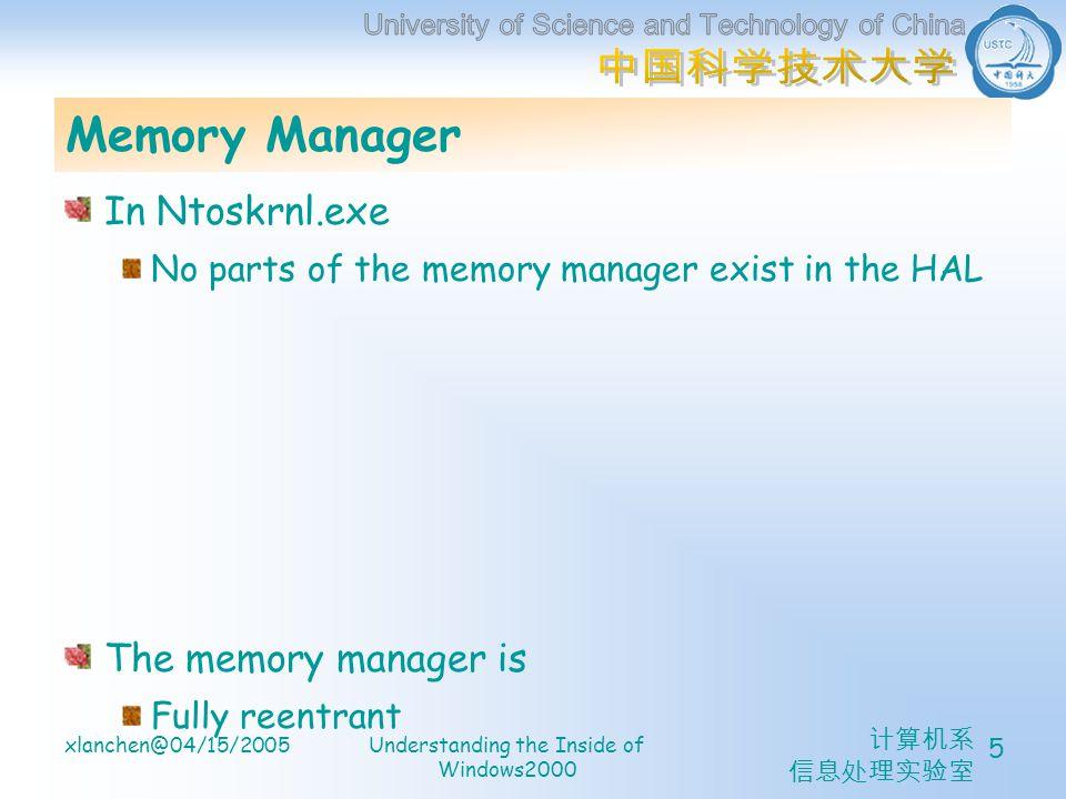 计算机系 信息处理实验室 xlanchen@04/15/2005Understanding the Inside of Windows2000 5 Memory Manager In Ntoskrnl.exe No parts of the memory manager exist in the HAL The memory manager is Fully reentrant