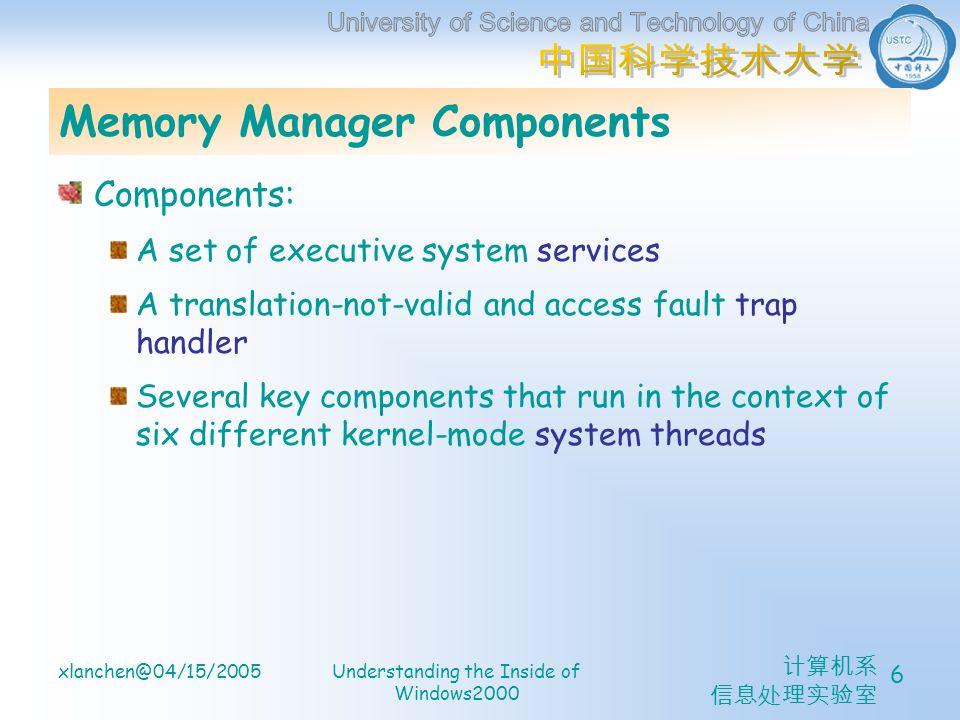 计算机系 信息处理实验室 xlanchen@04/15/2005Understanding the Inside of Windows2000 6 Memory Manager Components Components: A set of executive system services A translation-not-valid and access fault trap handler Several key components that run in the context of six different kernel-mode system threads