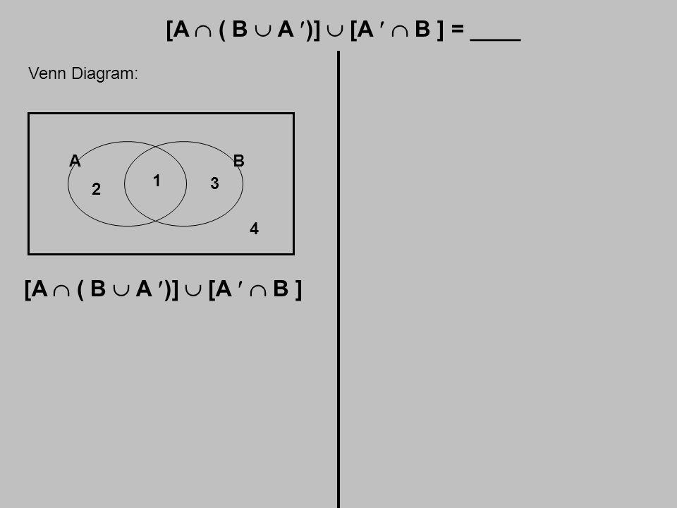 Venn Diagram: AB 1 2 3 4 [A  ( B  A )]  [A  B ]
