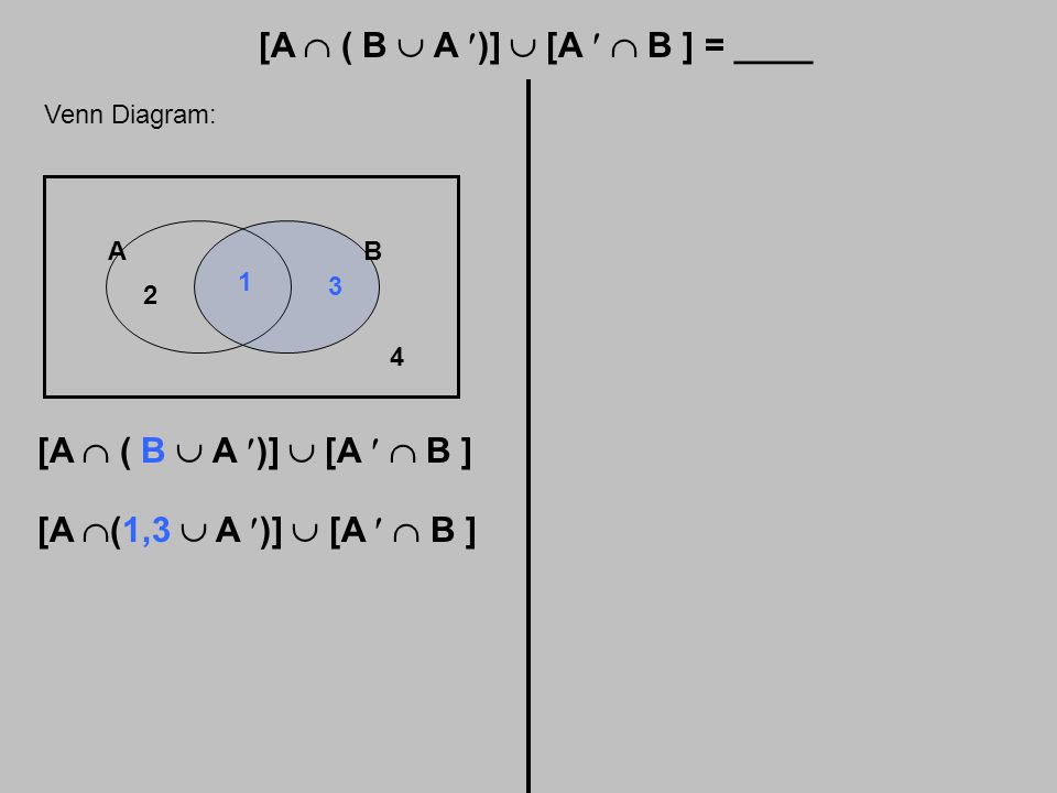 [A  ( B  A )]  [A  B ] = ____ Venn Diagram: AB 1 2 3 4 [A  ( B  A )]  [A  B ] [A  (1,3  A )]  [A  B ]