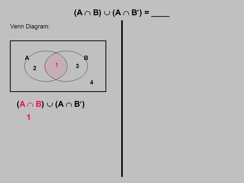 (A  B)  (A  B) = ____ Venn Diagram: AB 1 2 3 4 (A  B)  (A  B) 1