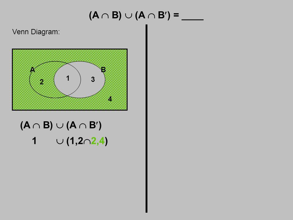 (A  B)  (A  B) = ____ Venn Diagram: 4 (A  B)  (A  B) 1  (1,2  2,4) AB 1 2 3