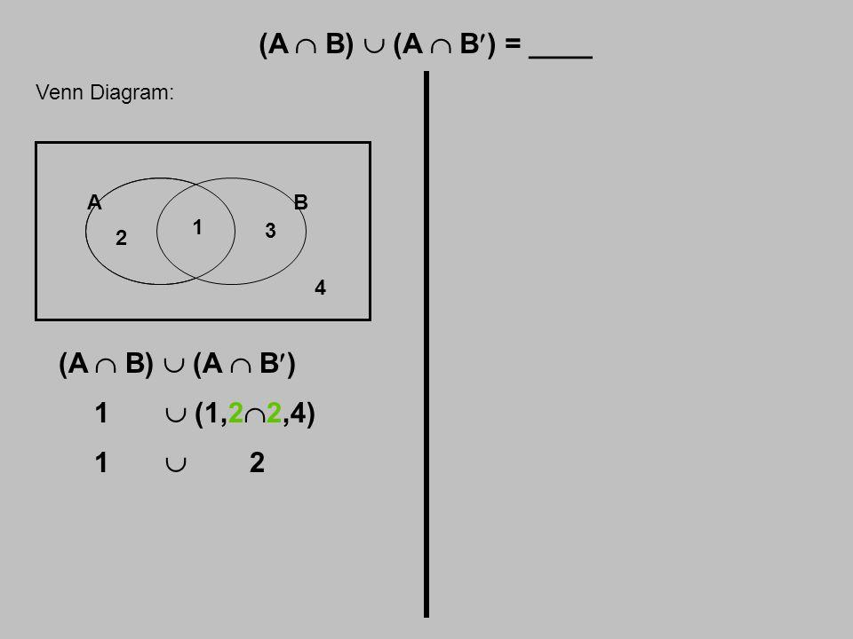 (A  B)  (A  B) = ____ Venn Diagram: AB 1 2 3 4 (A  B)  (A  B) 1  (1,2  2,4) 1  2