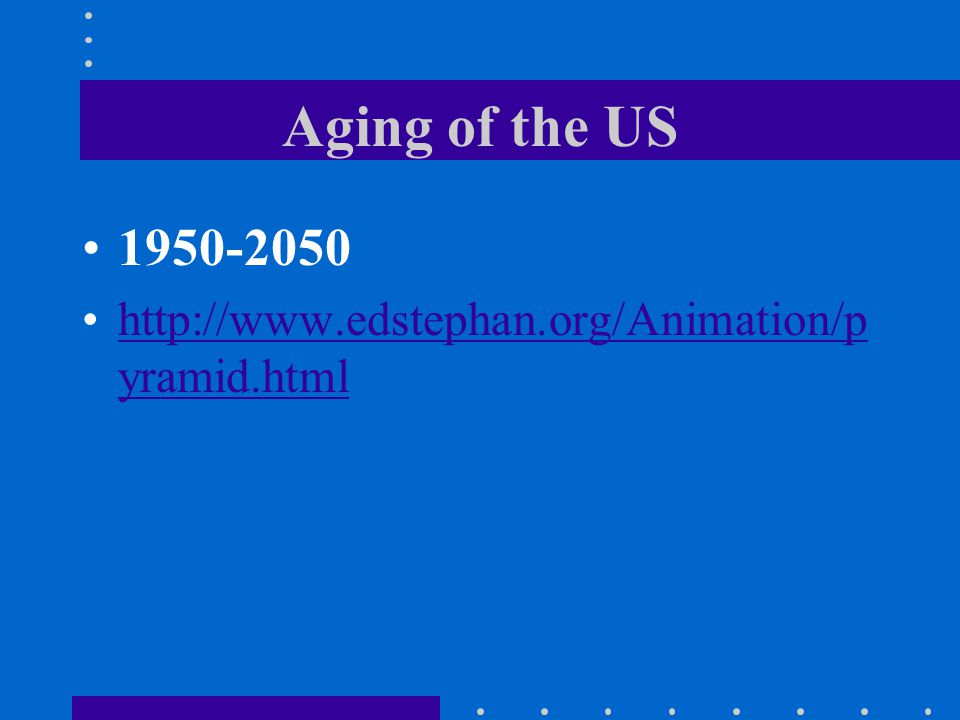 Aging of the US 1950-2050 http://www.edstephan.org/Animation/p yramid.htmlhttp://www.edstephan.org/Animation/p yramid.html