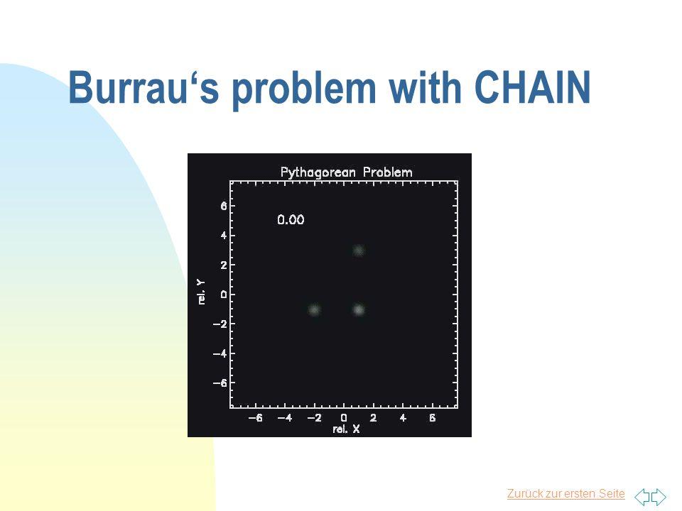 """Zurück zur ersten Seite Example: Burrau's problem n """"Pythogorean 3 body problem (Burrau 1913) n Solution by Szebehely & Peters (1967)"""