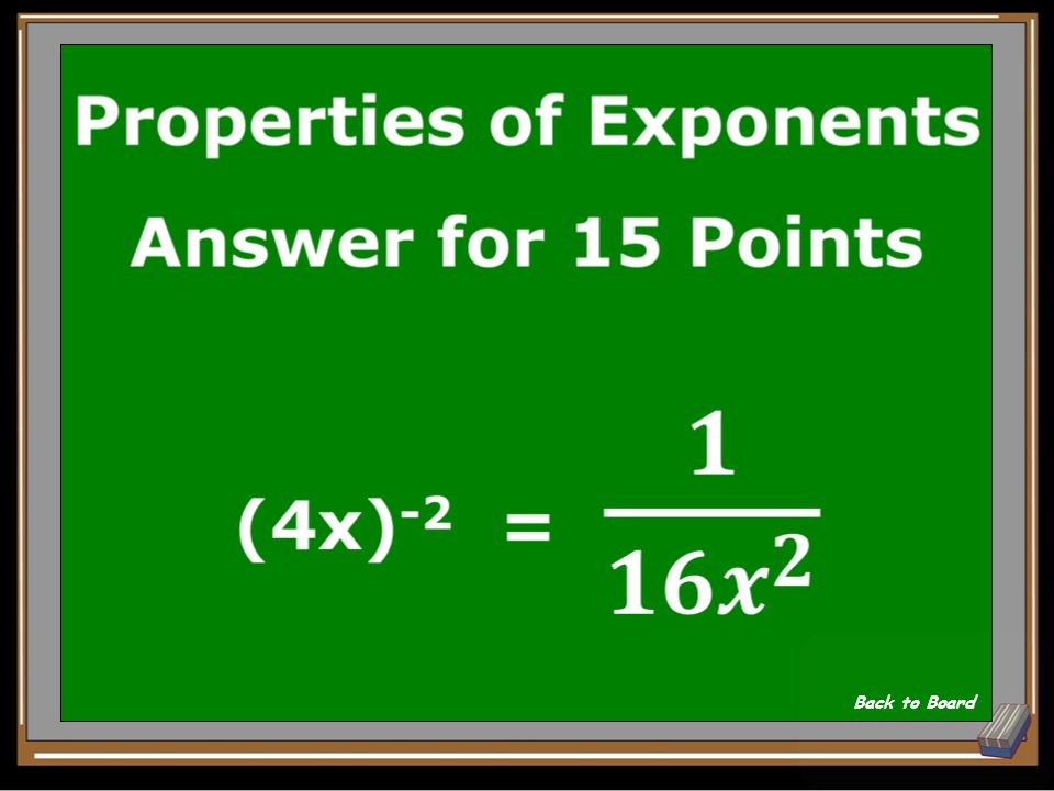 Properties of Exponents Question for 15 Points Simplify: (4x) -2 Show Answer