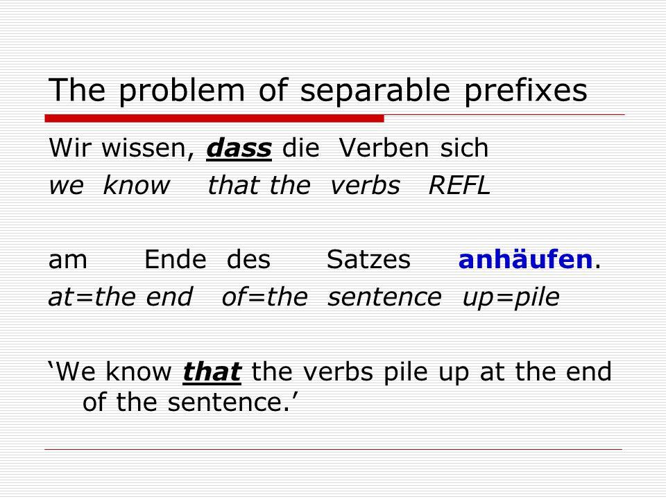 The problem of separable prefixes Wir wissen, dass die Verben sich we know that the verbs REFL am Ende des Satzes anhäufen.