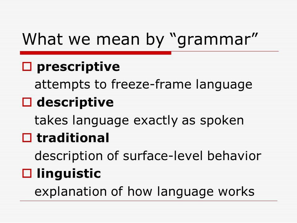 What we mean by grammar  prescriptive attempts to freeze-frame language  descriptive takes language exactly as spoken  traditional description of surface-level behavior  linguistic explanation of how language works