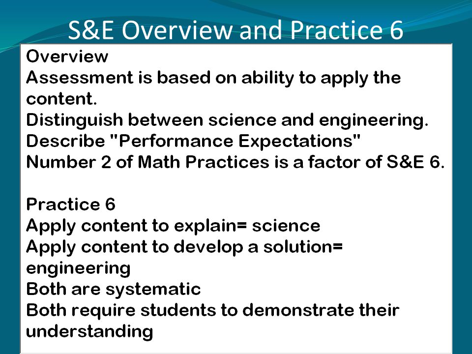 S&E Overview and Practice 6