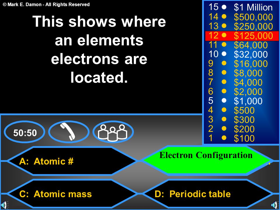 © Mark E. Damon - All Rights Reserved A: Atomic # C: Atomic mass B: Electron Configuration D: Periodic table 50:50 15 14 13 12 11 10 9 8 7 6 5 4 3 2 1