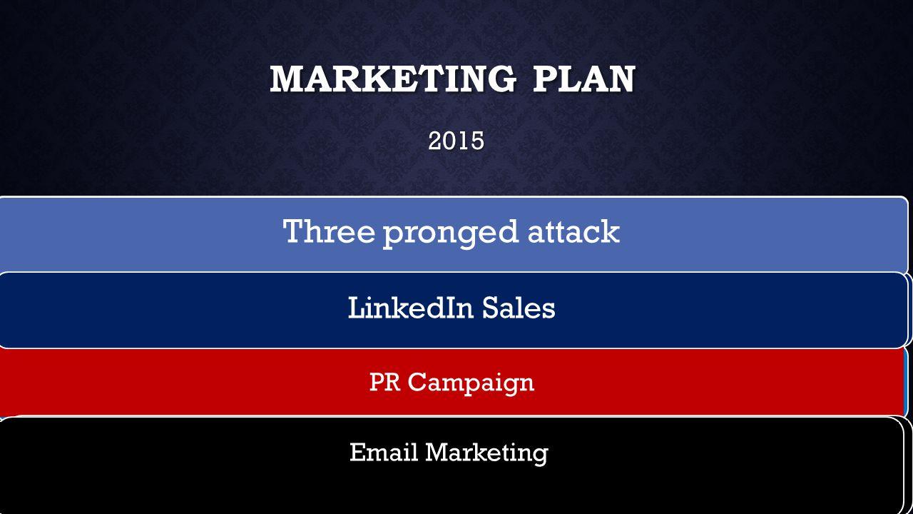 MARKETING PLAN 2015 Three pronged attack LinkedIn Sales PR Campaign Email Marketing Three pronged attack LinkedIn Sales Email Marketing