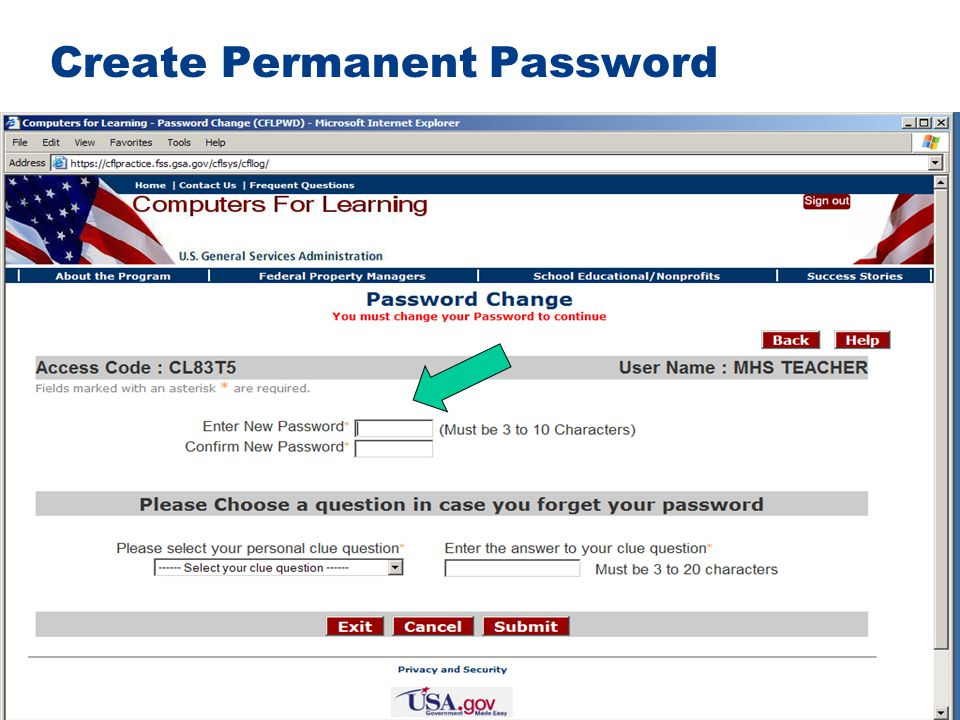 Create Permanent Password