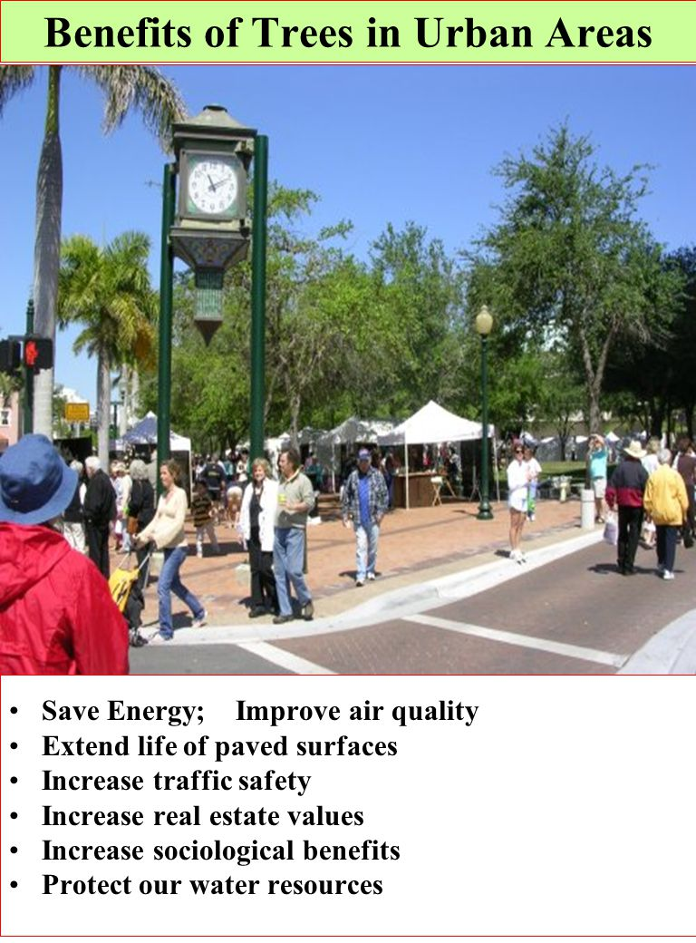 Save Energy; Improve air quality Extend life of paved surfaces Increase traffic safety Increase real estate values Increase sociological benefits Prot