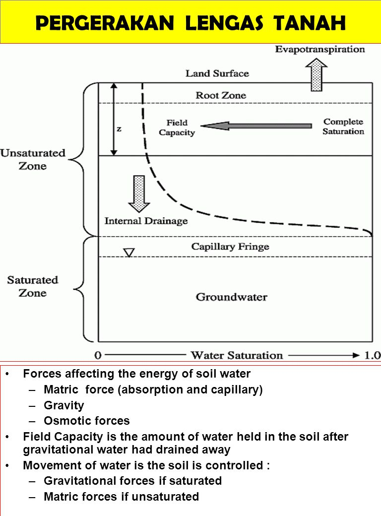 PERGERAKAN LENGAS TANAH Forces affecting the energy of soil water –Matric force (absorption and capillary) –Gravity –Osmotic forces Field Capacity is