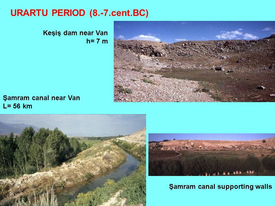 Keşiş dam near Van h= 7 m Şamram canal near Van L= 56 km URARTU PERIOD (8.-7.cent.BC) Şamram canal supporting walls