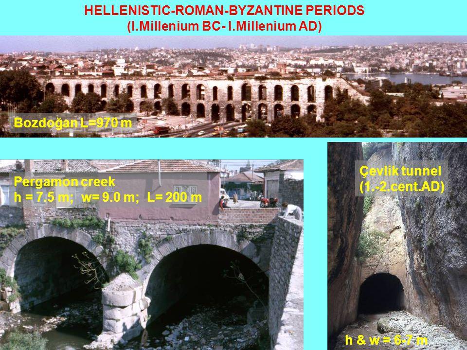 HELLENISTIC-ROMAN-BYZANTINE PERIODS (I.Millenium BC- I.Millenium AD) Bozdoğan L=970 m Pergamon creek h = 7.5 m; w= 9.0 m; L= 200 m Çevlik tunnel (1.-2.cent.AD) h & w = 6-7 m