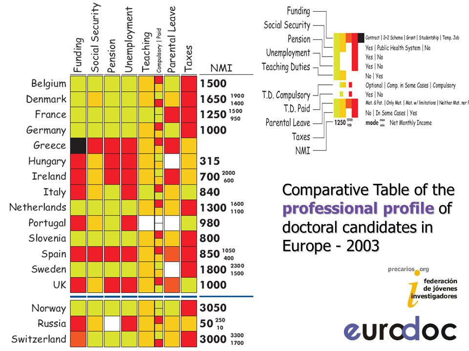 Comparative Table of the professional profile of doctoral candidates in Europe - 2003