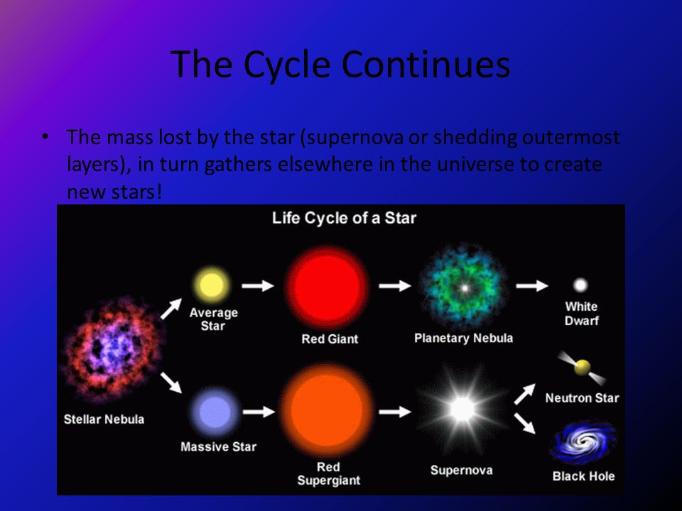 The Cycle Continues The mass lost by the star (supernova or shedding outermost layers), in turn gathers elsewhere in the universe to create new stars!