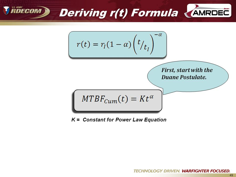 49 Deriving r(t) Formula K = Constant for Power Law Equation First, start with the Duane Postulate.