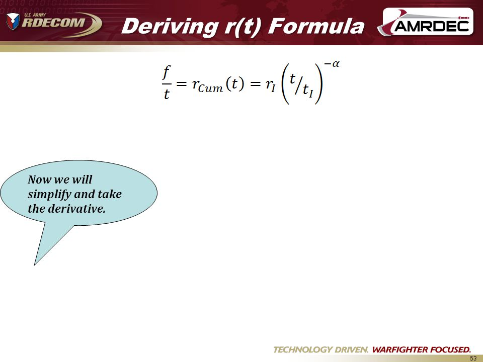 53 Deriving r(t) Formula Now we will simplify and take the derivative.