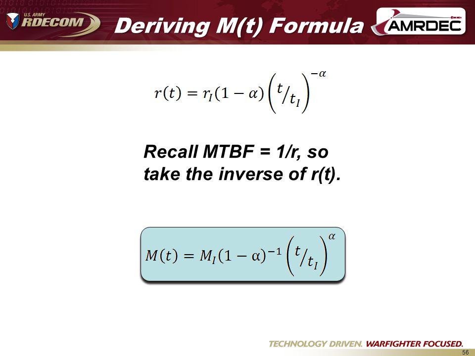 56 Deriving M(t) Formula Recall MTBF = 1/r, so take the inverse of r(t).