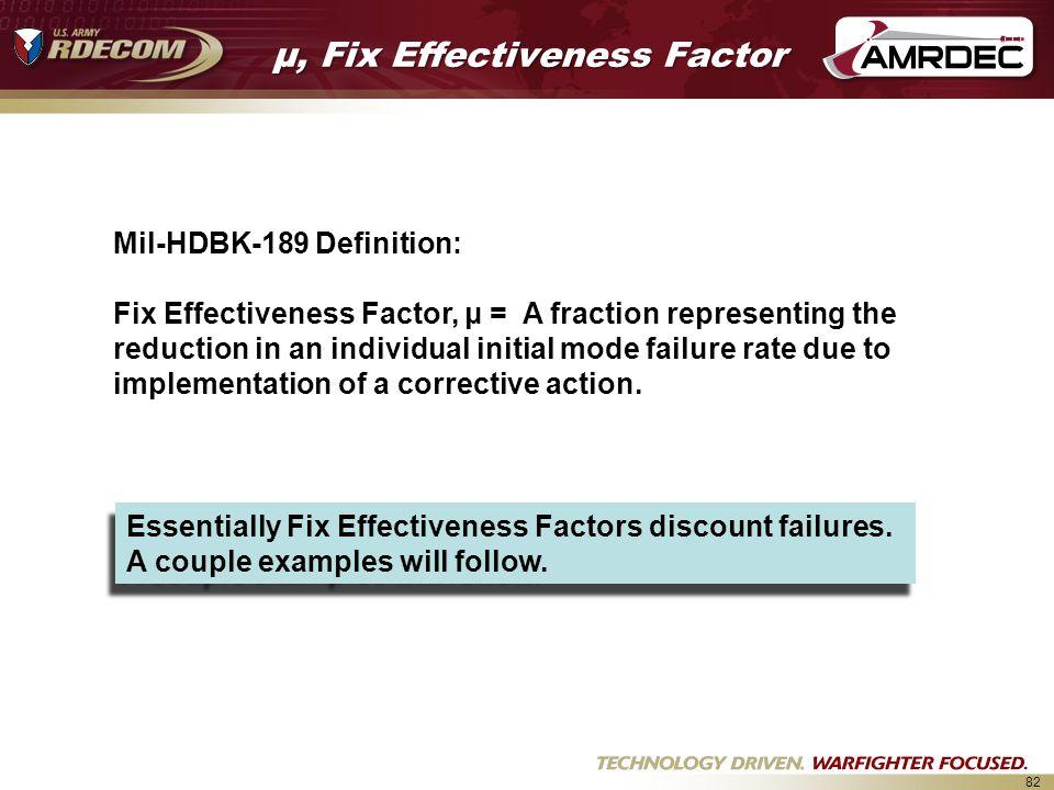 82 μ, Fix Effectiveness Factor Mil-HDBK-189 Definition: Fix Effectiveness Factor, μ = A fraction representing the reduction in an individual initial mode failure rate due to implementation of a corrective action.