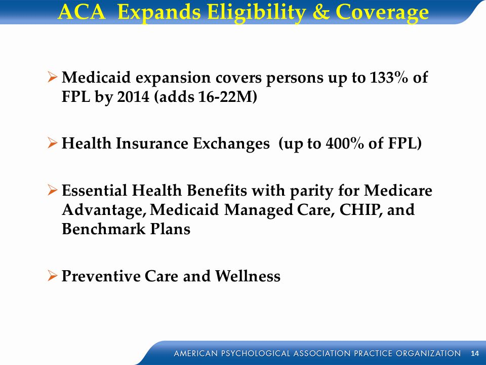 ACA Expands Eligibility & Coverage  Medicaid expansion covers persons up to 133% of FPL by 2014 (adds 16-22M)  Health Insurance Exchanges (up to 400
