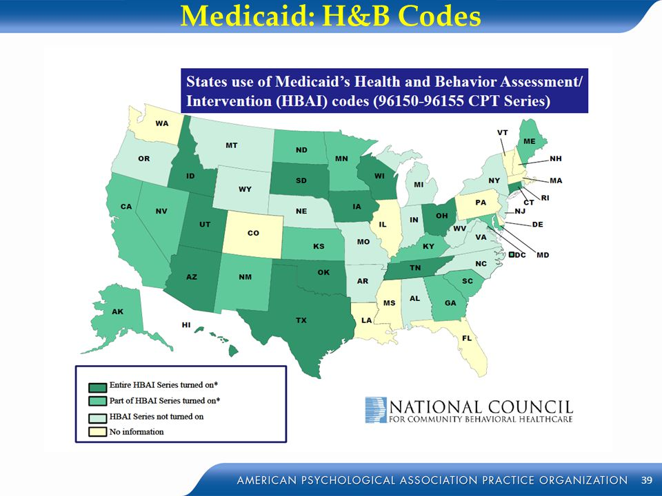 Medicaid: H&B Codes 39