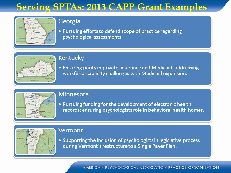 Serving SPTAs: 2013 CAPP Grant Examples Minnesota Pursuing funding for the development of electronic health records; ensuring psychologists role in be