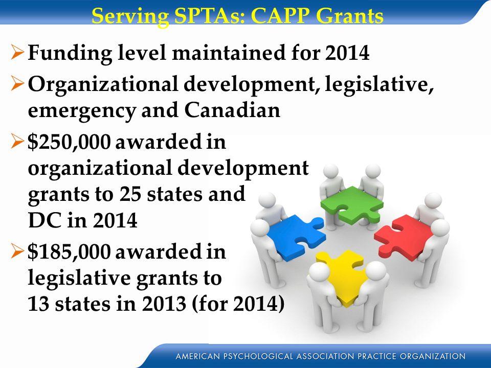  Funding level maintained for 2014  Organizational development, legislative, emergency and Canadian  $250,000 awarded in organizational development