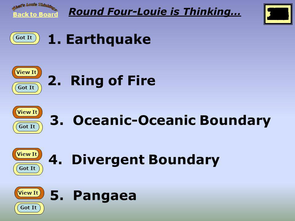 Back to Board START Round Four Louie is thinking about… Plate Tectonics