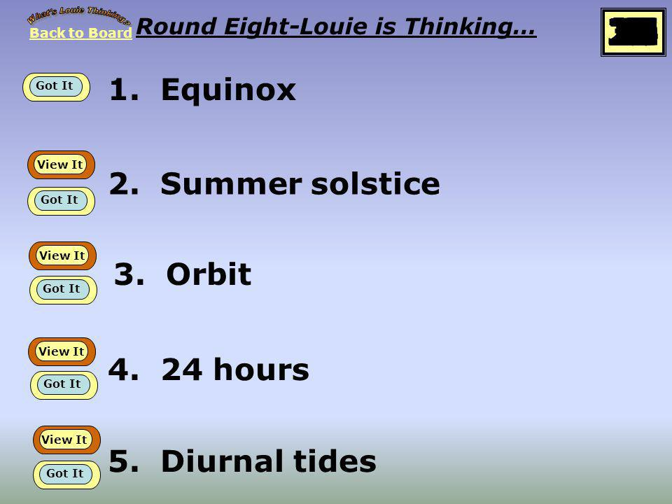 Back to Board START Round 8 Louie is thinking about… Sun, Moon, Earth