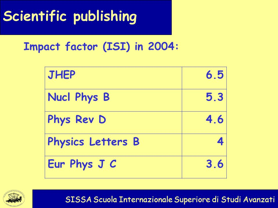 Scientific publishing SISSA Scuola Internazionale Superiore di Studi Avanzati Impact factor (ISI) in 2004: JHEP6.5 Nucl Phys B5.3 Phys Rev D4.6 Physics Letters B4 Eur Phys J C3.6