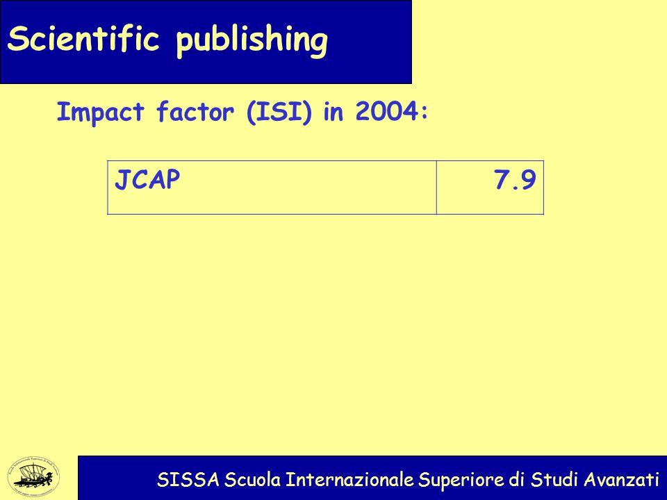 Scientific publishing SISSA Scuola Internazionale Superiore di Studi Avanzati Impact factor (ISI) in 2004: JCAP7.9