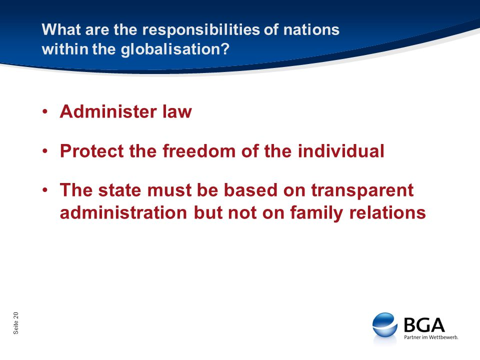 Seite 20 What are the responsibilities of nations within the globalisation.