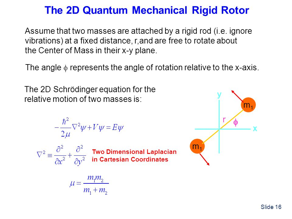 Slide 16 The 2D Quantum Mechanical Rigid Rotor Assume that two masses are attached by a rigid rod (i.e. ignore vibrations) at a fixed distance, r,and