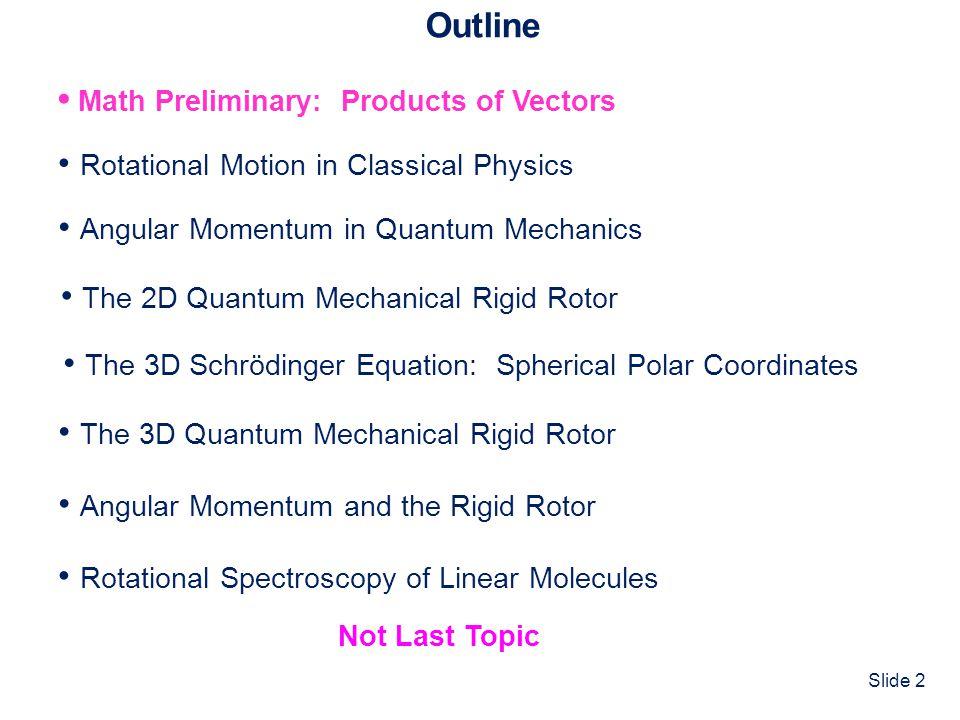 Slide 13 Angular Momentum in Quantum Mechanics QM Angular Momentum Operators ClassicalQM Operator ^