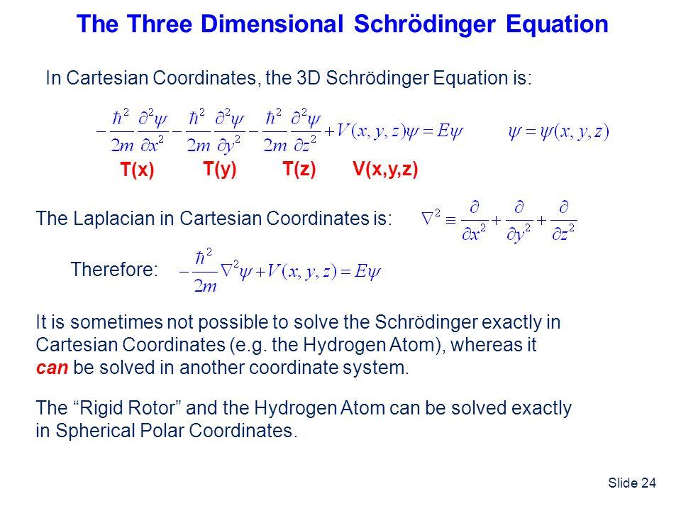Slide 24 The Three Dimensional Schrödinger Equation In Cartesian Coordinates, the 3D Schrödinger Equation is: The Laplacian in Cartesian Coordinates i