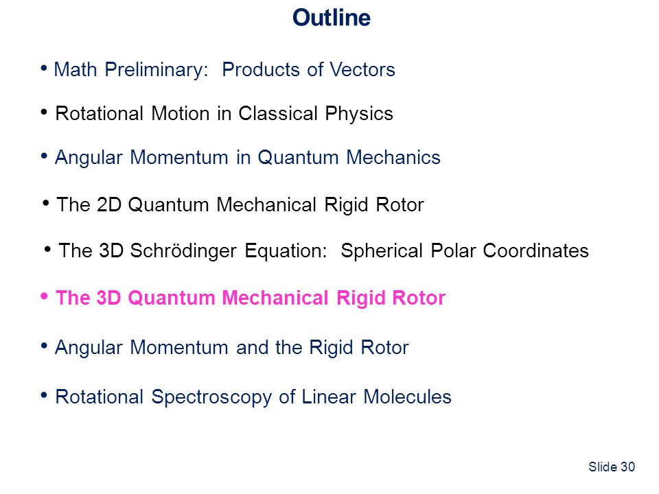 Slide 30 Outline Math Preliminary: Products of Vectors Rotational Motion in Classical Physics The 3D Quantum Mechanical Rigid Rotor Angular Momentum i
