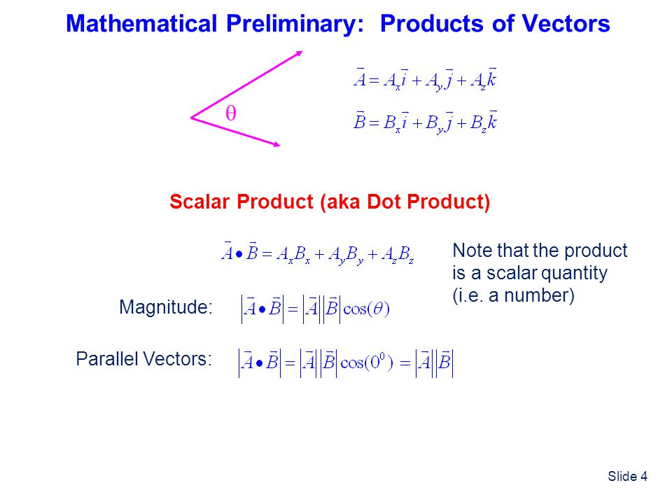 Slide 4 Mathematical Preliminary: Products of Vectors  Scalar Product (aka Dot Product) Note that the product is a scalar quantity (i.e. a number) Ma