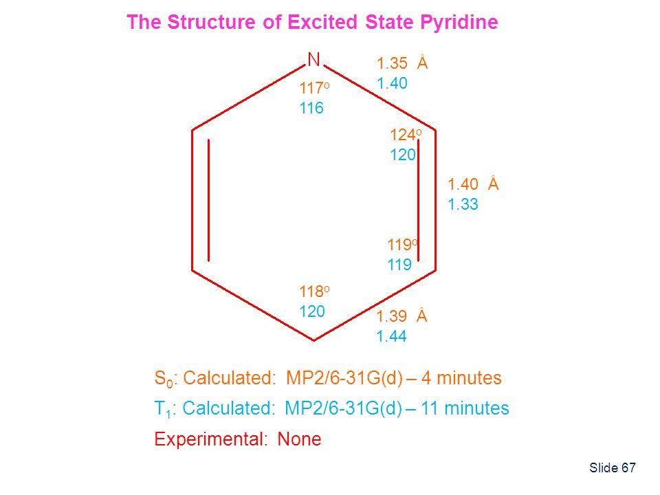 Slide 67 1.35 Å 1.40 1.40 Å 1.33 1.39 Å 1.44 117 o 116 124 o 120 119 o 119 118 o 120 The Structure of Excited State Pyridine S 0 : Calculated: MP2/6-3