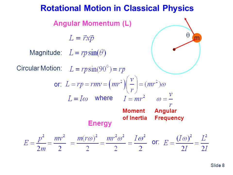 Slide 9 Comparison of Equations for Linear and Circular Motion Linear Motion Circular Motion MassMoment of inertia m VelocityAngular velocity v MomentumAngular momentum p=mv Energy orEnergy