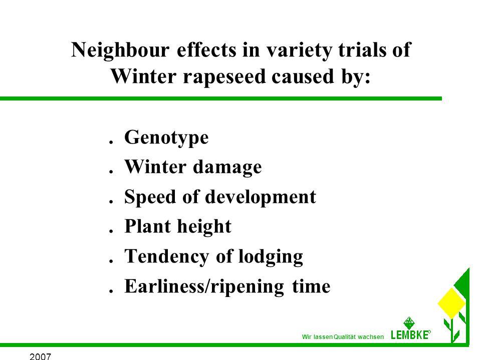 2007 Wir lassen Qualität wachsen Neighbour effects in variety trials of Winter rapeseed caused by:.